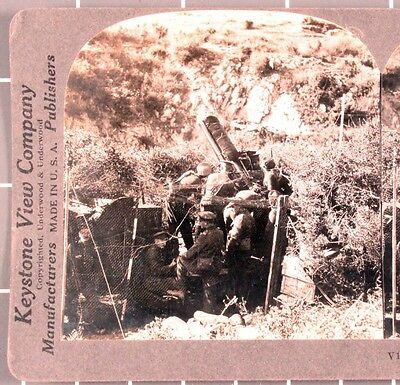 WWI Stereoview card:  British Anti-Aircraft Gun on the Balkan Front