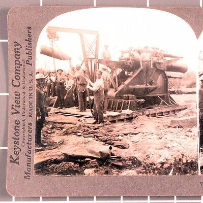 WWI Stereoview card:   British Artillery Crew Loading Large Caliber Artillery
