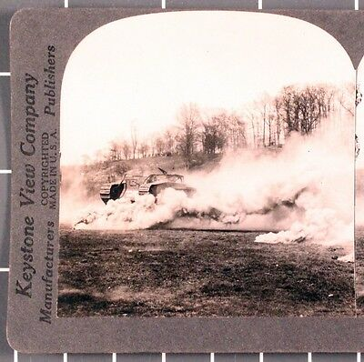 WWI Stereoview card:   Tank Moving Trough Smoke Screen