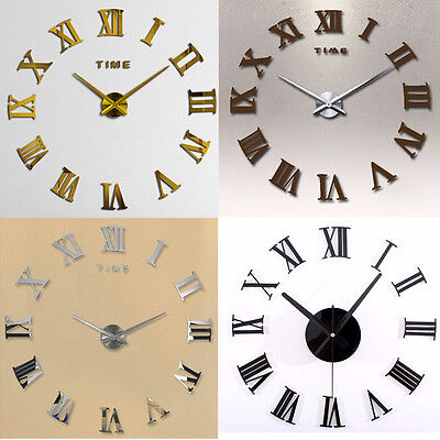 Moda Retro 3D 50cm Wall Clock DIY Casa Decoracion Relojes de Pared Metal