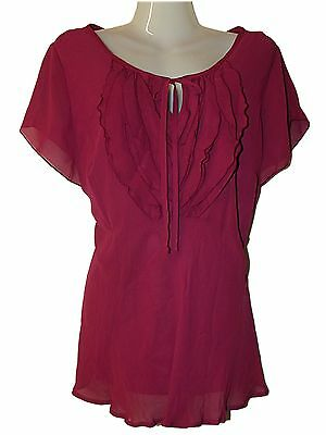 FAB NEW LADIES EX STORE FRILL FRONT FLOATY TIE BACK PINK or BLACK TOP SIZE 16-20