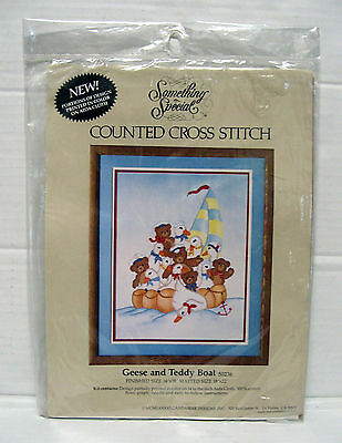 Something Special Geese And Teddy Boat Counted Cross Stitch Kit