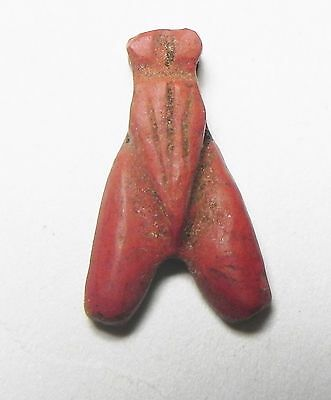 Zurqieh -Af857- Ancient Egypt, New Kingdom. Red Jasper Fly Amulet. 1400 B.c