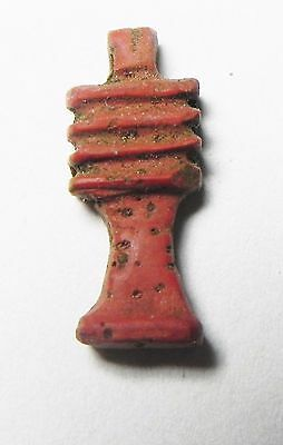 Zurqieh -Af861- Ancient Egypt, New Kingdom. Red Jasper Djed Pillar . 1400 B.c • CAD $189.00