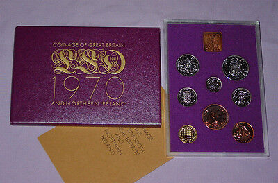 1970 ROYAL MINT 'LAST STERLING' PROOF SET COINS - Nice Example