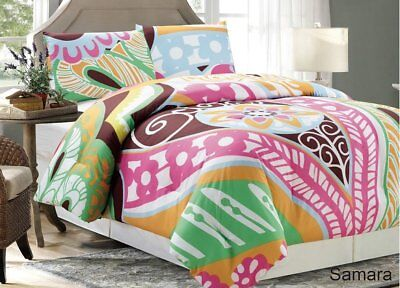 Chezmoi Collection 2pc Colorful Funky Printed Floral Pattern Comforter Set, Twin