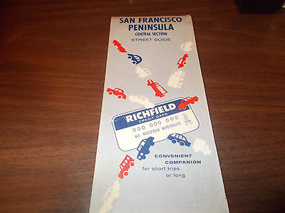 1962 Richfield San Francisco Peninsula Central Section Vintage Road Map