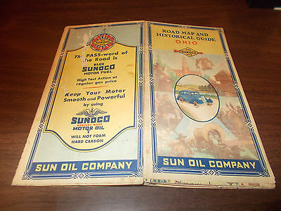 1930s Sunoco OHIO Vintage Road Map and Historical Guide /Nice Graphics