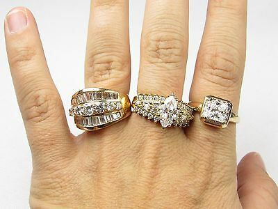 **estate Sterling Silver Lot Of 3 Cz  Wedding Rings 19.9 Grams Size 10
