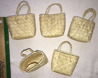 5 Weaved Buri Gift Tote Bags Hawaiian Basket Keepsake Storage Hawaii Hula Supply