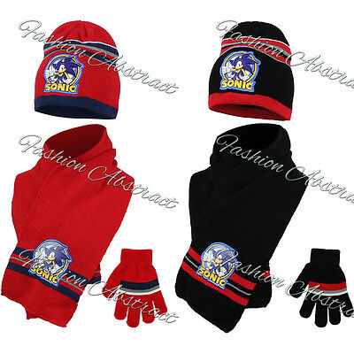 New Boys Officially Licensed Sonic Winter Hat With Gloves & Scarf