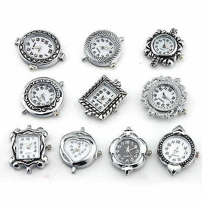 10 Assorted Silver Stone Watch Face Jewellery Making DIY Craft Finding