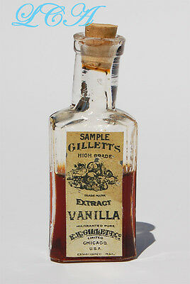 TINY antique GILLETT EXTRACT sample bottle w/ pic LITTLE OWL