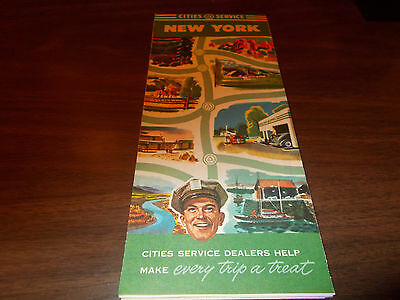 1940s Cities Service New York Vintage Road Map