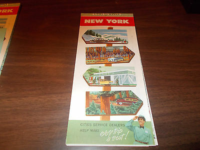 1954 Cities Service New York Vintage Road Map