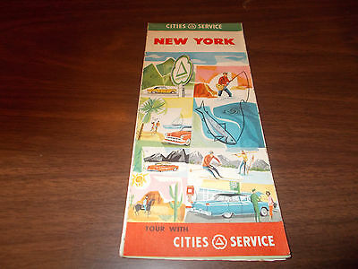 1956 Cities Service New York Vintage Road Map