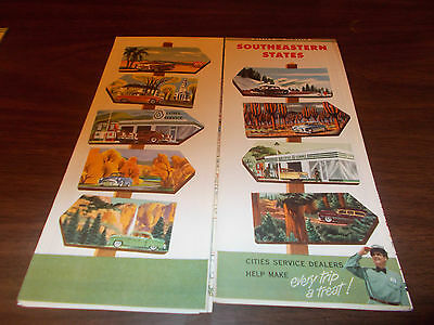1953 Cities Service Southeastern States Vintage Road Map