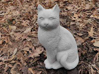 "Cement 11"" Sitting Up Cat Garden Art Statue Weathered Concrete Very Nice!"