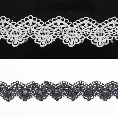 3 Yd Off White/Black Flower Lace Trim Edge Wedding Ribbon Sewing Trimming Craft