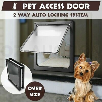 Extra Large 2 Way Lockable Locking Pet Cat Dog Safe Security Brushy Flap Door