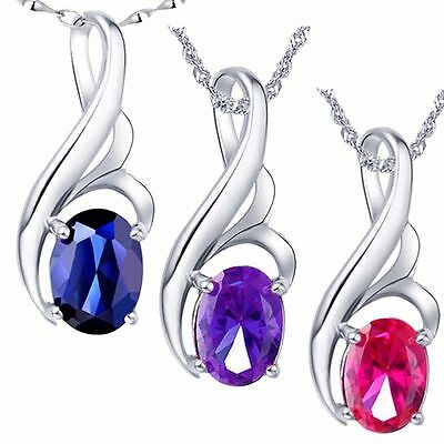 "0.75 Ct Sterling Silver Oval Cut AAA Created Gemstone Pendant Necklace 18"" Chain"