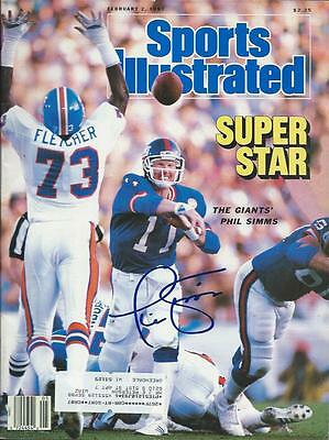 Phil Simms New York Giants Hand Signed Sports Illustrated Full Magazine
