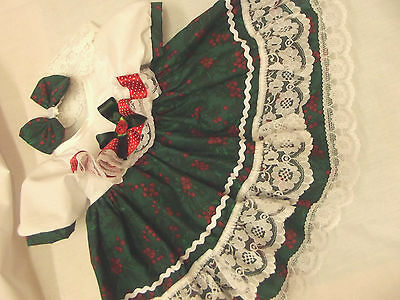 Dream Baby Green White Red Holly Xmas Dress & Hbd 0-3 3-6 Months Or Reborn Dolls