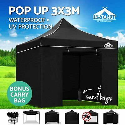 Instahut 3x3m Outdoor Pop Up Gazebo Folding Marquee Tent Canopy Party Camping BK