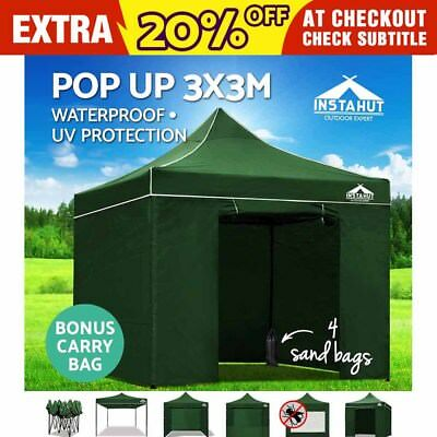 Instahut 3X3M Outdoor Gazebo Folding Marquee Tent Canopy Pop Up Party Green