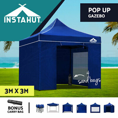 Instahut 3X3M Outdoor Gazebo Folding Marquee Tent Canopy Pop Up Party Blue