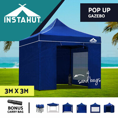 Instahut 3x3m Outdoor Pop Up Gazebo Folding Marquee Tent Canopy Party Camping BL