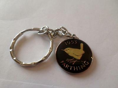 Vintage Enamelled Farthing Coin Keyring. Birthday Christmas Gift. Various Dates