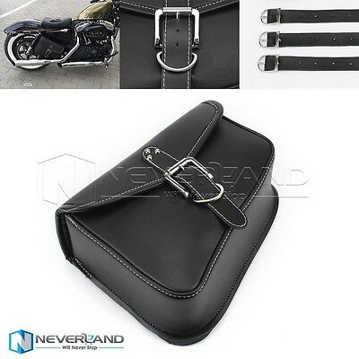 Right Side Motorcycle Black Saddlebags Swingarm Side Bag PU Leather For Harley