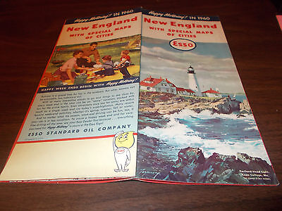 1960 Esso New England Vintage Road Map / Portland Head Lighthouse on Cover