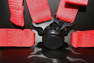 """Raptor 4x4 Safety Belts 4 Points 2"""" Red Harness Seat Belt Off Road Racing"""