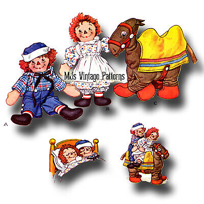 """Vintage 1940s Pattern ~ 15"""" Raggedy Ann, Andy Dolls & CAMEL with Wrinkled Knees"""