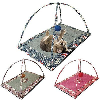 Pet Activity Centre Cat Play Bed Fun Mat Hanging Soft Toy House Tent Kitten Care