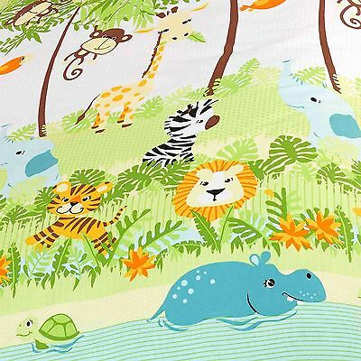 """Jungle Boogie Lined Curtains 66"""" X 72"""" With Tie Backs Animals Elephants Tigers"""