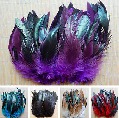 100 200 500pcs Lots 8-15cm Beautiful Multi color Rooster Tail Natural  Feather 6e740ccf7763