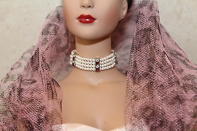 OOP Franklin Mint Amethyst White Crystal necklace choker fit 15-16 in doll Tyler