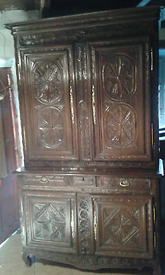 Huge Antique Early 19Th C Oak French Heavily Carved Buffet Sideboard