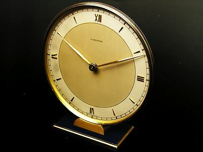 Rare And Beautiful Art Deco Blue Design Desk Clock From Junghans Germany