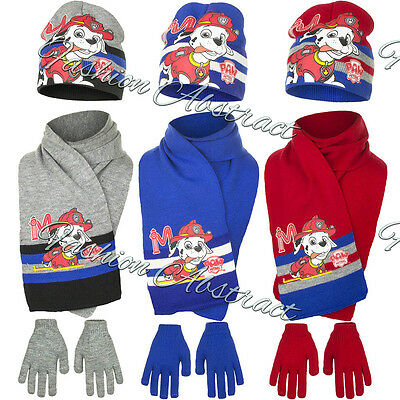 NEW BOYS LICENSED PAW PATROL WINTER HAT WITH GLOVES & SCARF  sizes 52cm & 54cm