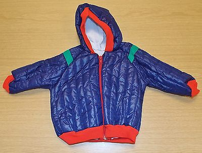 VINTAGE 1980s UNWORN UNISEX TODDLERS QUILTED ANORAK BLUE/RED/GREEN AGE 18 MONTHS