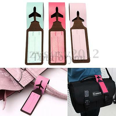 Leather Travel Bag Trip Luggage Suitcase Name Holder Label ID Tags Case UK