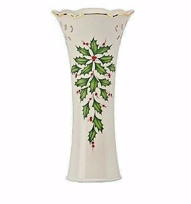 "Lenox Holiday Pierced Bud Vase 8 1/4"" Gold Trimmed Holly Berries NEW IN BOX"