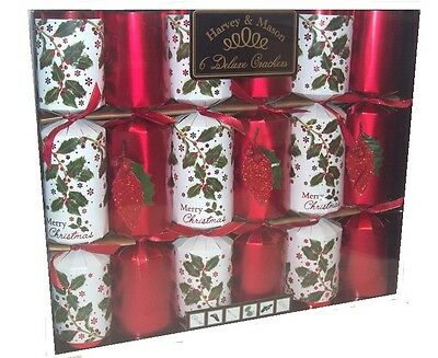 Harvey & Mason 6 Large Deluxe Christmas Dinner Party Crackers Red & White Holly