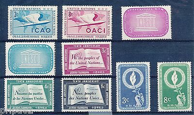L0632 - NATIONS UNIES  - Timbres N° 31 à 39 Neufs*