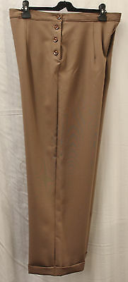 Womens 1940's Taupe High Waist/Wide Leg Trousers WWII World War 2 Land Army Girl