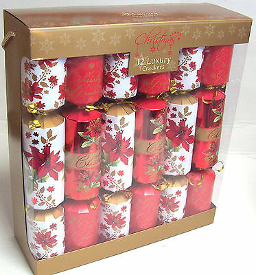 Pack Of 12 Luxury Family Christmas Crackers Foiled Red & White Poinsettia Flower
